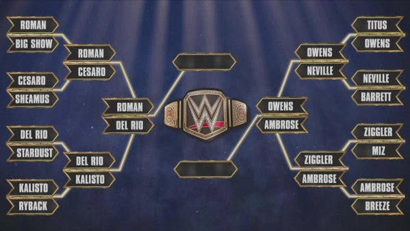 Last two matches before the final: Reigns vs Del Rio, and Owens vs Ambrose. (Source: wwe.com)