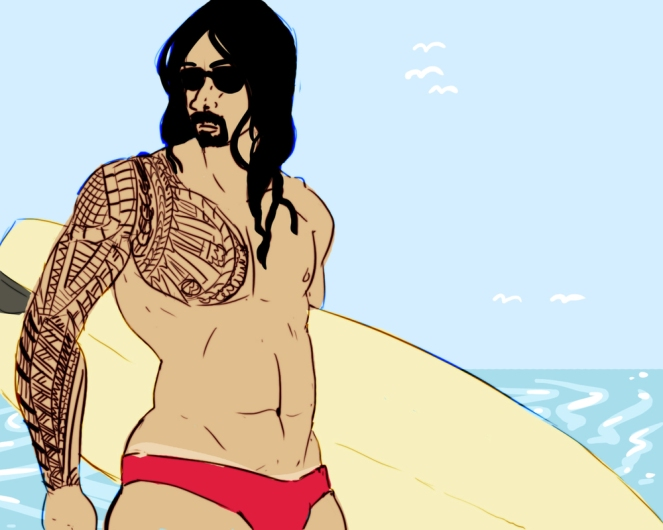 Roman Reigns reinvents himself as a surfer on the premise that it couldn't be worse than whatever character he's meant to have at the moment.